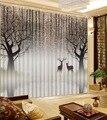 Европейские современные роскошные занавески для гостиной  Короткое дерево  лось  окно  занавески  крючки  полиэстер