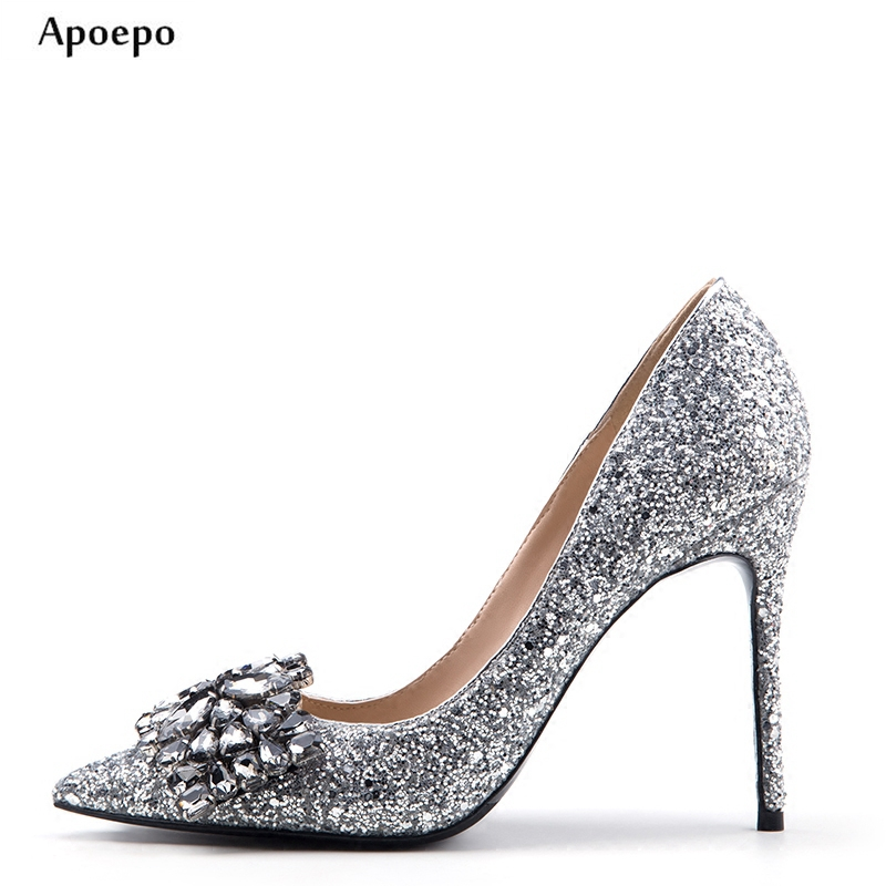 New 2018 Bling Bling Glitter Embellished High Heel Shoes Pointed toe Crystal woman pumps Silver high heel wedding shoes new 2018 new fashion sexy pointed toe thin heels shoes bling bling glitter embellished ankle starp high heel shoe 16cm pumps