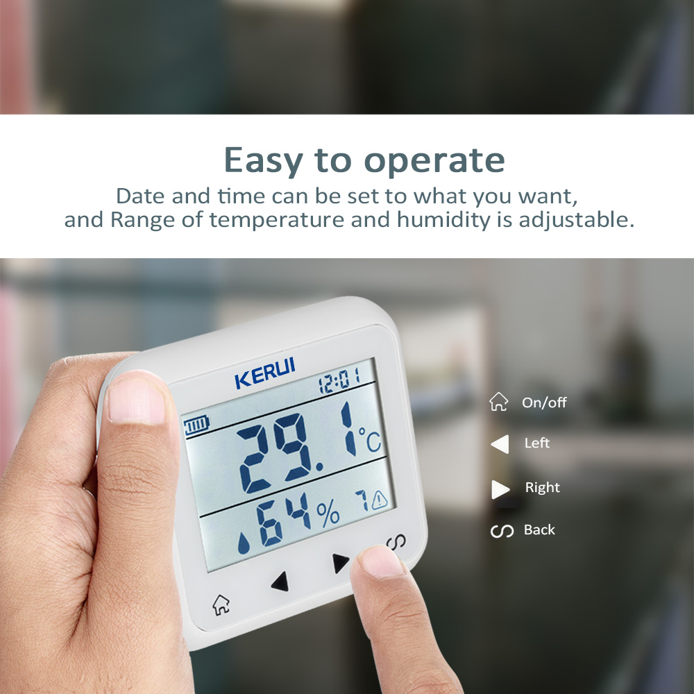 KERUI TD32 LED-skjerm Justerbar temperatur og fuktighet Alarmsensor - Sikkerhet og beskyttelse - Bilde 3