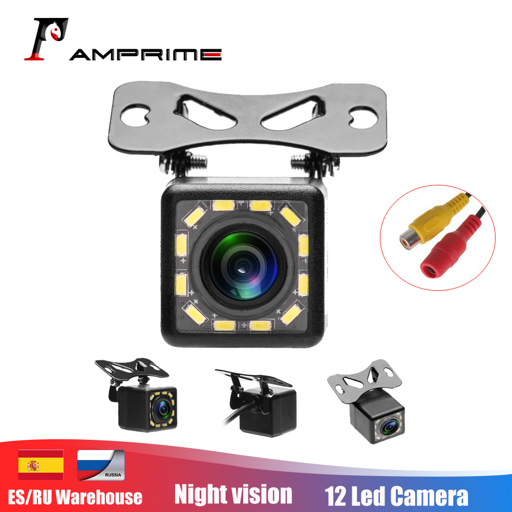AMPrime Waterproof Car Rear View Camera 170 Wide Angle HD CCD 12 LED Night Visions Backup Reversing Parking Cameras Car-styling