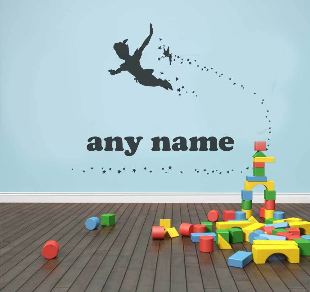 Tinkerbell colouring in online - Customer Made Personalised Name Peter Pan Tinkerbell Wall Decal Sticker Mural Kids Art You