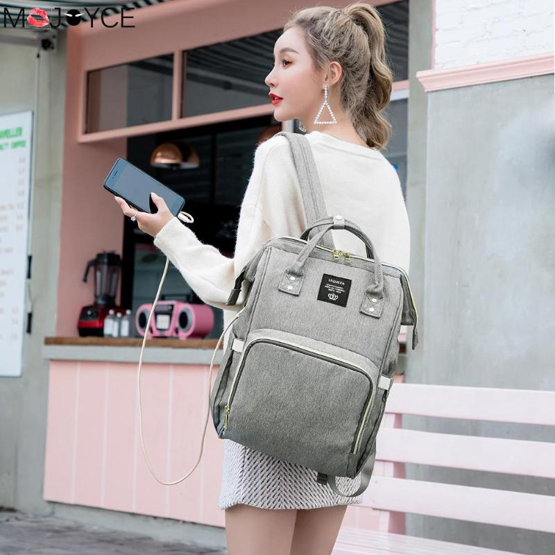 Women Casual Backpack Maternity Waterproof Diaper Bag USB Charging Large Mummy Nursing Backpacks Oxford Women Bag
