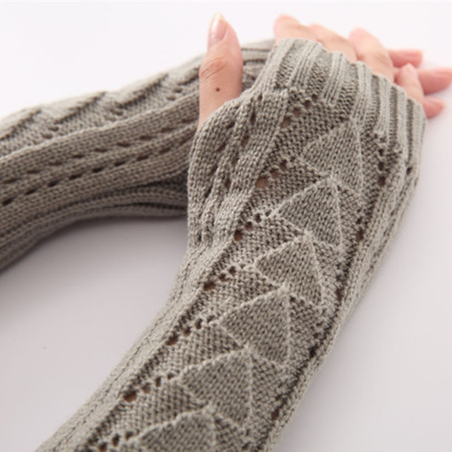 Winter Knitted Fingerless Thick hollowing Long Party Gloves Half Opera Womens Gloves Gants Femme Guantes Mujer Accessories