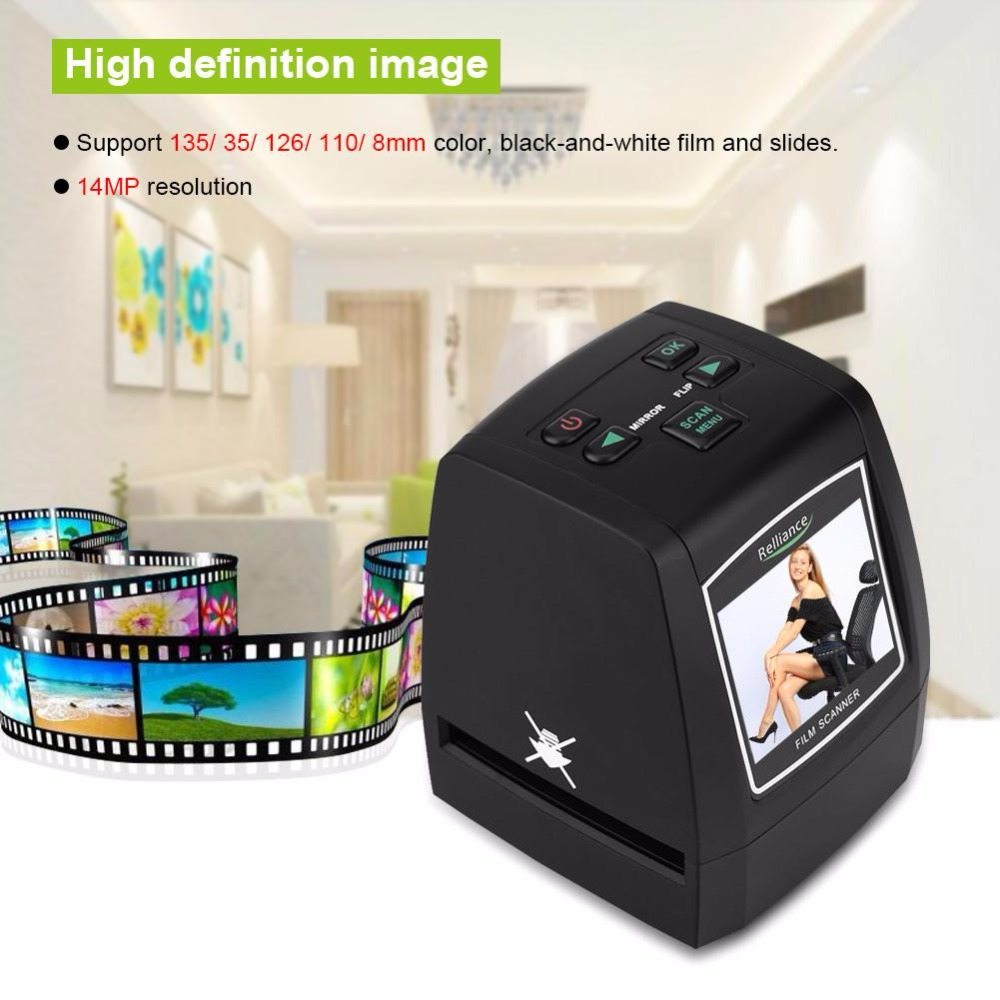 High Resolution 14MP/ 22MP 135/ 35/ 126/ 110/ 8mm Slides Negative Film Scanner EU/ US Plug Support SD Card For Office Home