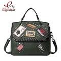 Женская мода заклепки значок pu кожа дамы случайные сумки на ремне сумки женский кошелек crossbody сумка 6 цвета