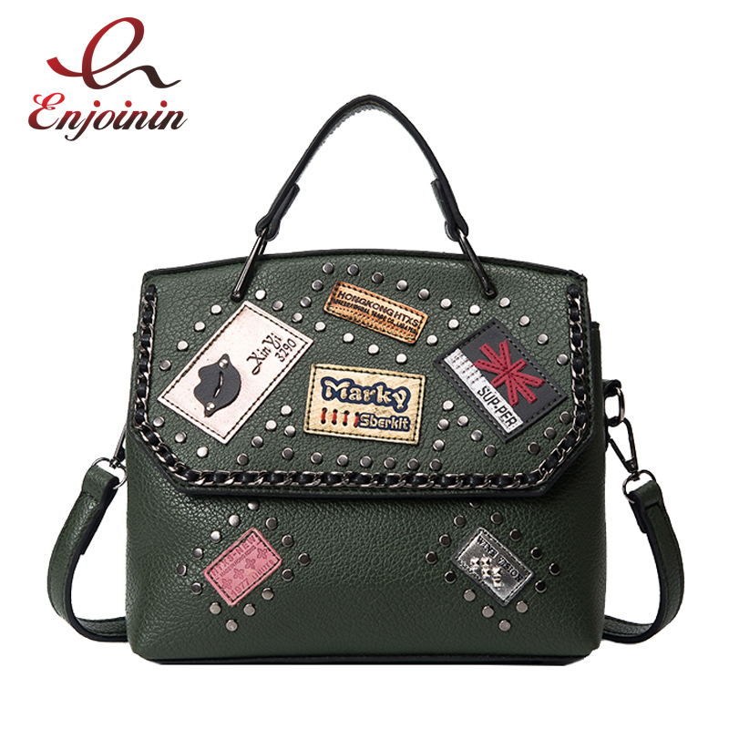 Female fashion rivet badge pu leather ladies casual totes shoulder bag handbag women's purse crossbody messenger bag 6 colors  fashion design bee metal pearl pu leather chain ladies shoulder bag handbag flap purse female crossbody messenger bag 5 colors