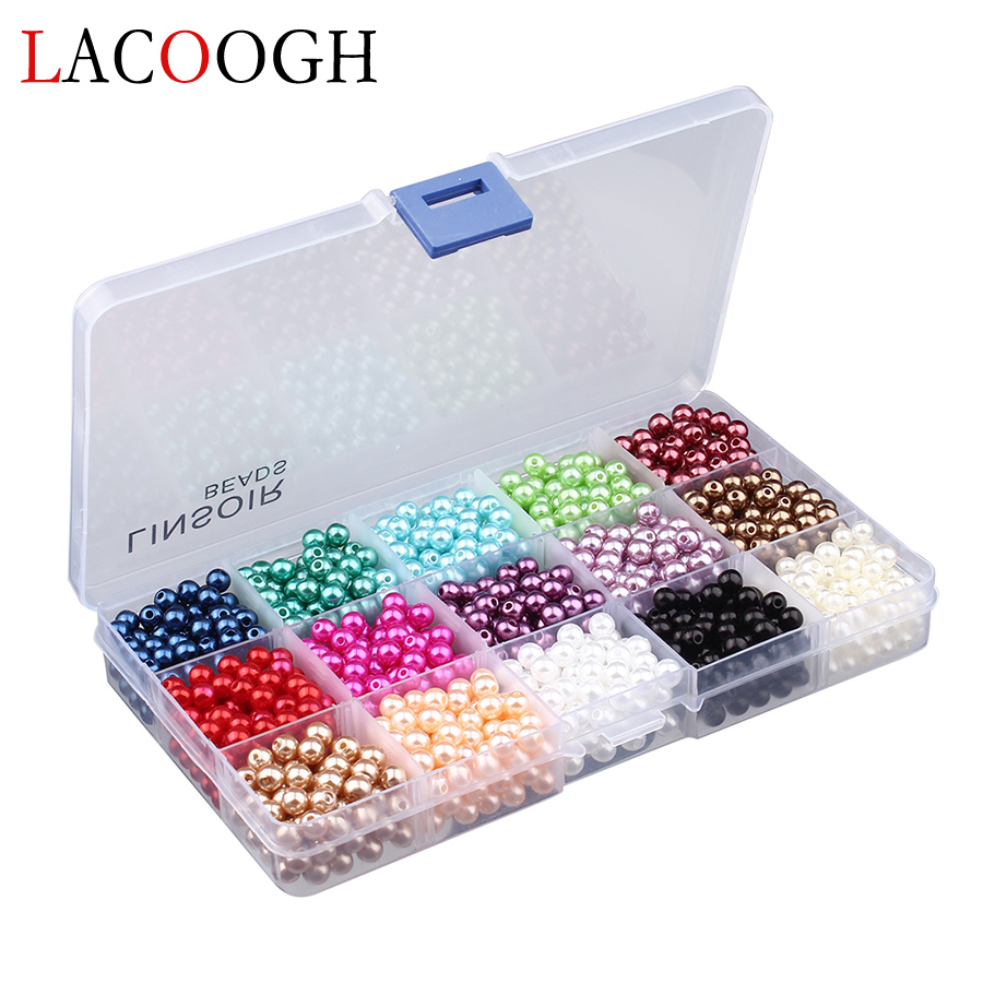 1Box/lot 300-1500pcs Mixed 6mm/8mm/10mm Acrylic Craft Pearl Beads Loose Spacer Beads for DIY Jewelry Making Perles En Lots wholesale green color 5000 crystal glass beads loose round stones spacer for jewelry garment 4mm 6mm 8mm 10mm