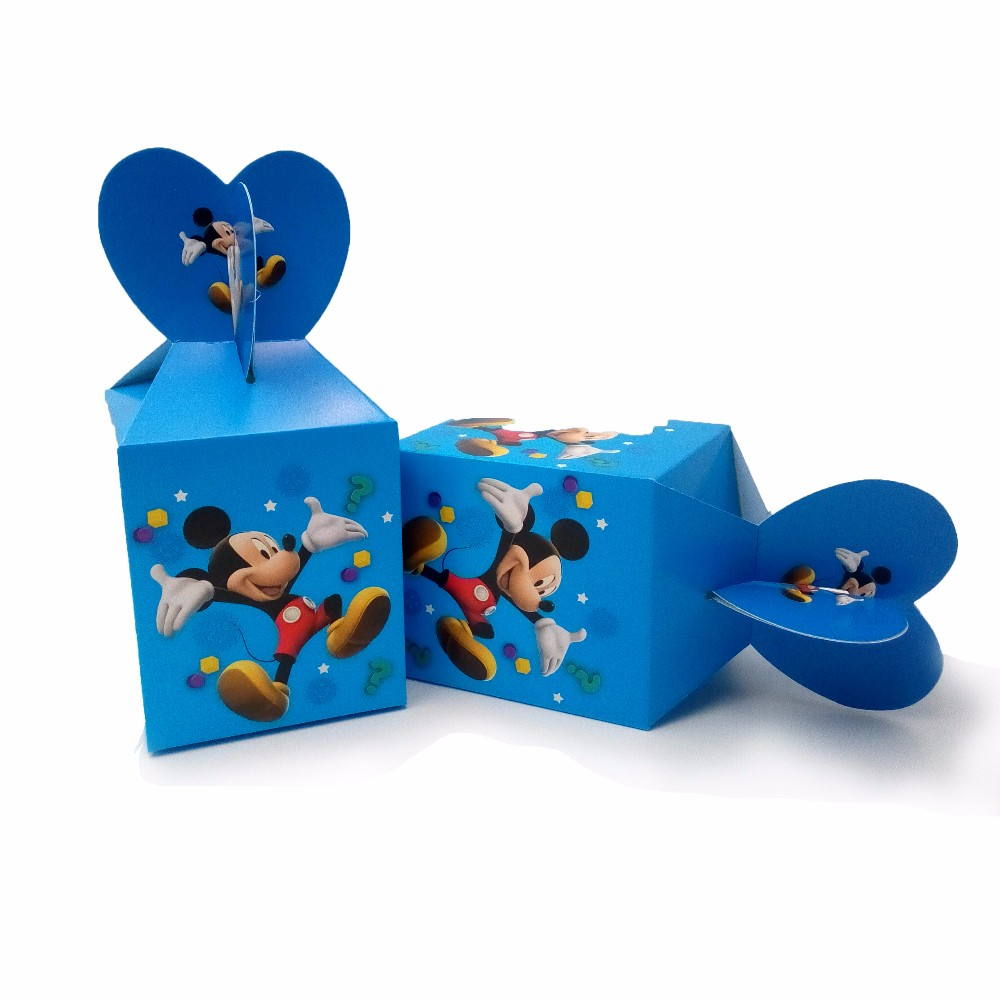 12Pcs/Lot Mickey Mouse Theme Print Candy Box Party Supplies Loading Gift Loot Bag Paper Box Birthday Party 10*8.5*18cm