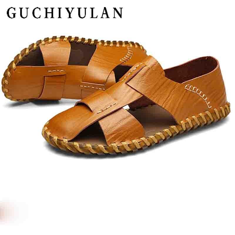 Для мужчин шлепанцы Высококачественная брендовая одежда Для мужчин s тапочки открытый летняя уличная Повседневное кожаные тапочки Для муж...