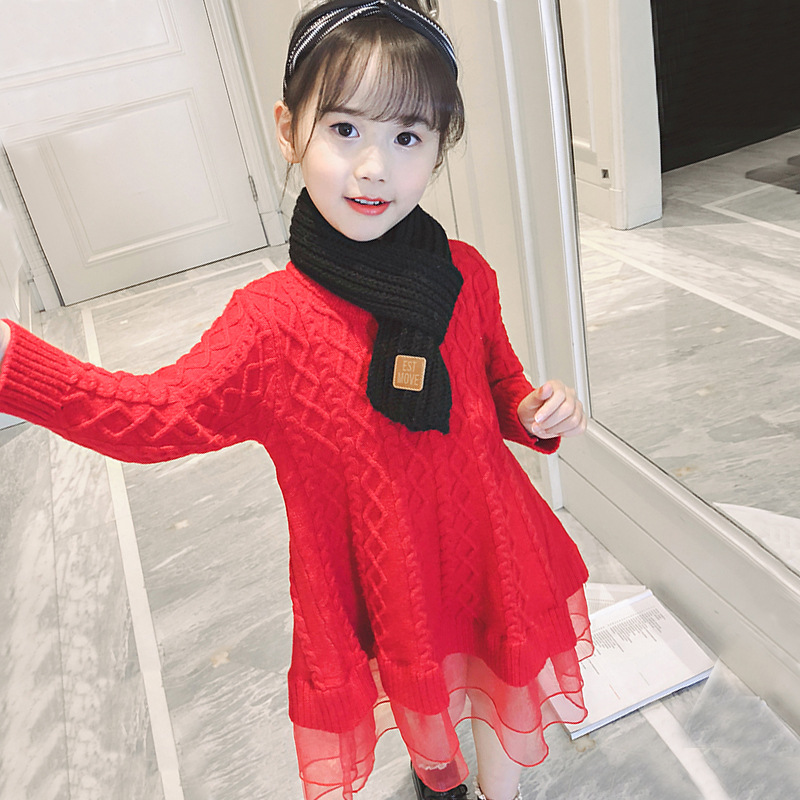 2018 Winter Dress For Girls Teenager Kids Sweater Dresses Long Sleeve Big Girls Clothes Teenage Christmas Dress Girl Clothng 12 vr glasses game console rv virtual reality 3d mobile phone ar integrated machine huawei vivo eye helmet headset type