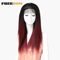 FREEDOM Natural Looking African American Wigs For Black Women Ombre Red Yaki Straight Lace Wig Synthetic With Baby Hair Wig