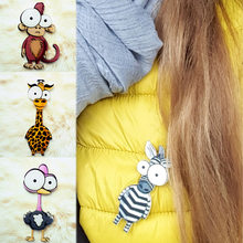Newest Cute Brooch Animal Backpack Seaside Hat Cartoon Men Women pins stranger things 1PC Clothing Monkey Lion Acrylic Brooch(China)