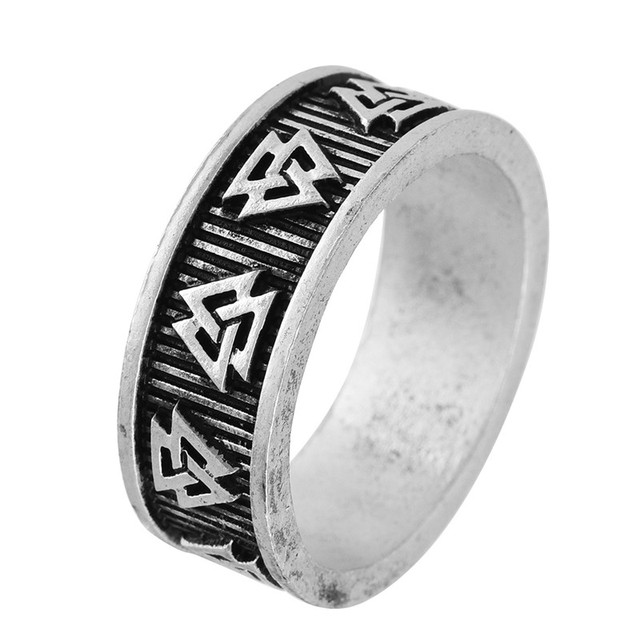 5pcs Viking Multiple Valknut Rune Rings Nordic Anel Bague Men