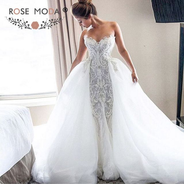 Luxury strapless sweetheart chantilly lace mermaid wedding for Mermaid wedding dress with detachable train