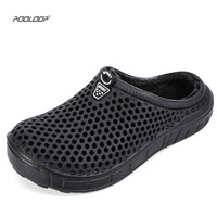 POOLOOP 2018 House Slippers Winter Moccasins Men Home Indoor Plush House Shoes Bedroom Shoe Fur Lined Croc Clogs