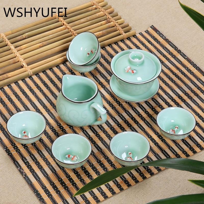 TeaPot 9 Pcs Kung Fu Tea Set Ceramic Tea Carp pattern cup,TeaPot,Bone China GaiWan,Tea Sea,Porcelain Filter ,Tea service