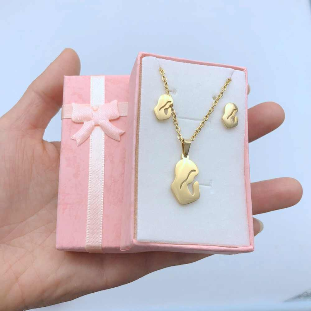 Blessed Virgin Mary Necklace Earrings Set Gold Silver Color Stainless Steel Maria Jewelry Sets Women Jewellery Gifts Wholesale