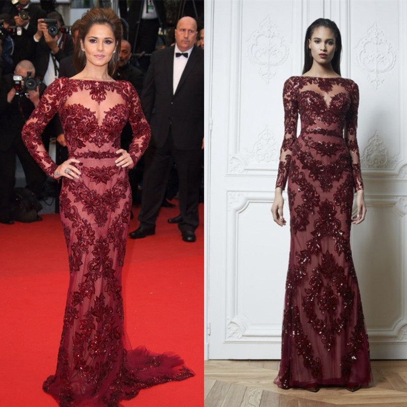 6736dd3aef1 2016 Roter Teppich-Kleid Claret red carpet dresses free shipping Sheer Lace  Long Sleeve Celebrity