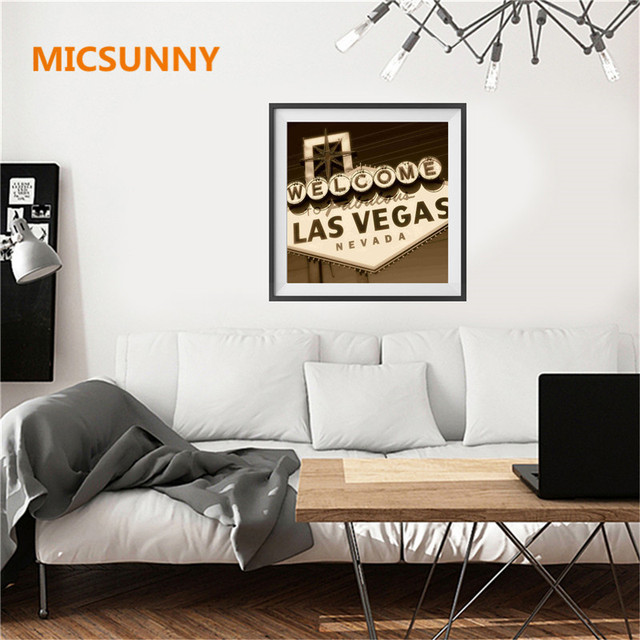 Micsunny vintage advertising slogan letters wall poster welcome to las vegas nevada quotes wall pictures for