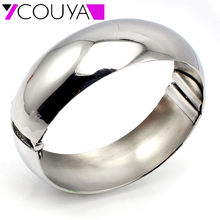 New Design Punky Jewelry Stainless Steel Plain Shiny Silver Cuff Bangle Bracelets For Women Fashion Jewelry Gourmettes Bijoux(China)