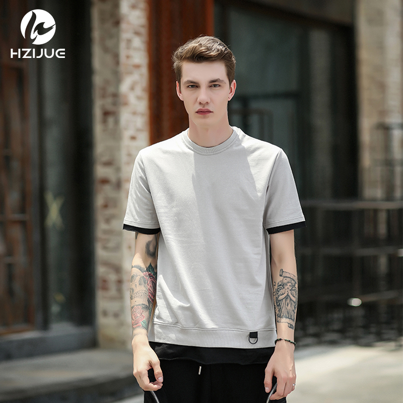6b7c8efc1bfd HZIJUE Men s T shirt 2018 summer Solid Color Curved Hem patchwork Hip Hop  Tshirt Elong Plain Kanye Tee Shirts Men Top tees-in T-Shirts from Men s  Clothing ...