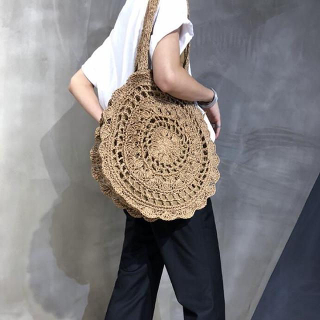 Bohemian Paper rope Straw Bags for Women Big Circle Beach Handbags Summer Vintage Rattan Bag Handmade Kintted Travel Bags