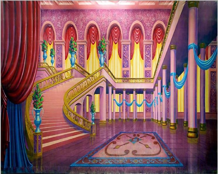 7x5ft Beauty Beast Stairs Staircase Pillars Hall Window