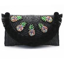 цены 2019 High Quality Beach Bag Straw Clutch Messenger Bag Envelope Bag Women Lady Day Tassels Pineapple Summer Crossbody Bags A4