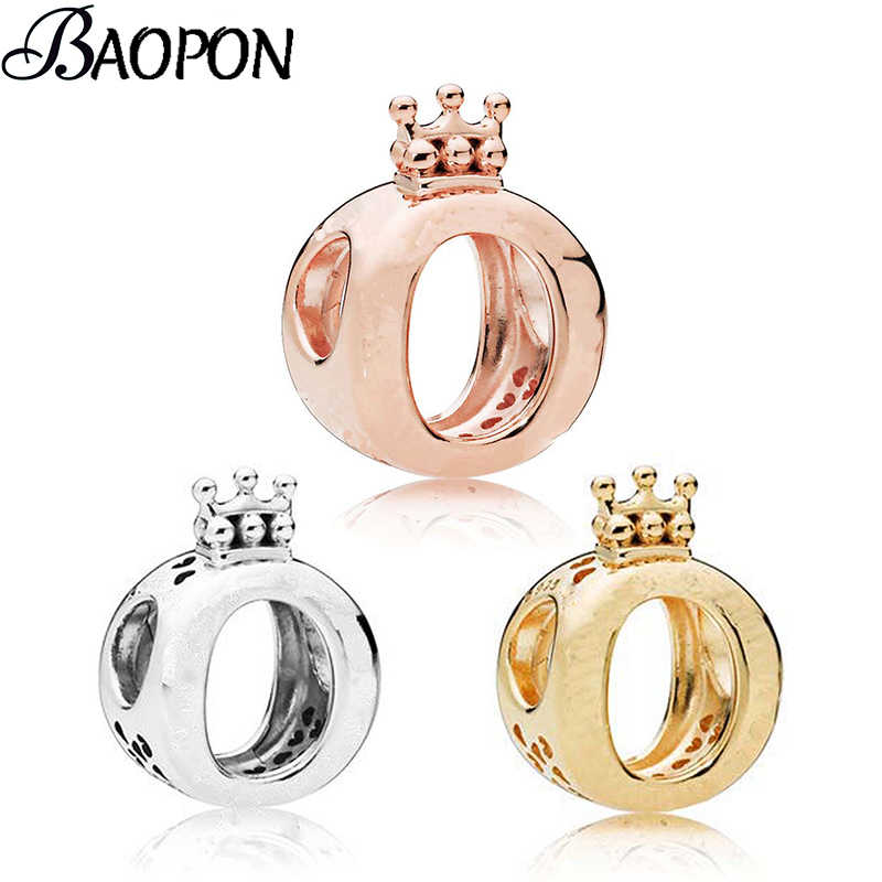 BAOPON 2Pcs/lot Authentic Silver Color Charm fit Pandora Rose Gold Beads Bracelets Crown O Crystal Pendant Charm DIY Jewelry