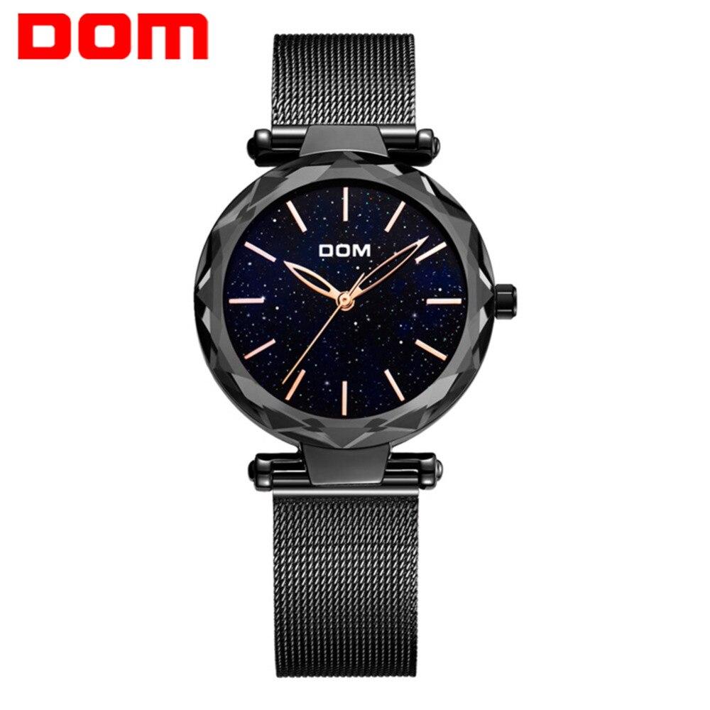 DOM marque montre femmes étanche montres mode Design créatif montre noire femme montre-bracelet ciel étoilé montre G-1244BK-1M chaude