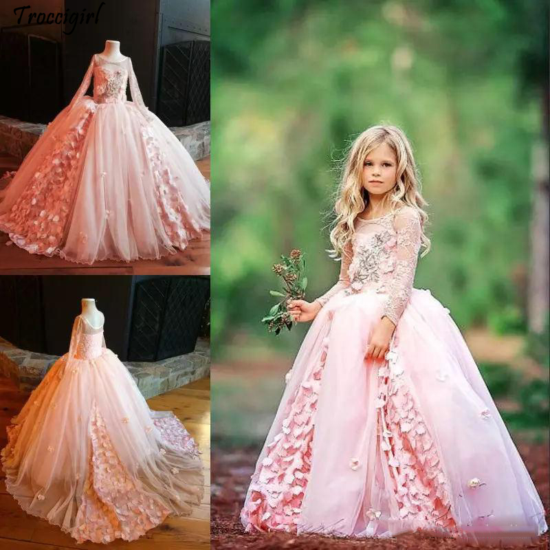 93-1                Lovely Vintage Girl Pageant Dresses Gorgeous Flower Girl Dresses For Wedding Lace Long Sleeve Applique Tulle Sweep Train Flower Girl Dress