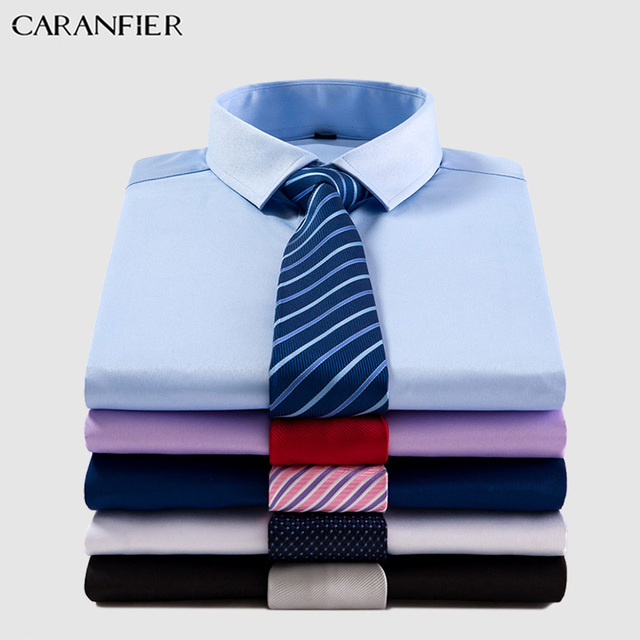 CARANFIER Mens Short Sleeve Work Shirts Brand Soft Square Collar Regular Striped Twill Men Dress Shirts White 7 Colors Male Tops Men's Plus Size formal Shirts