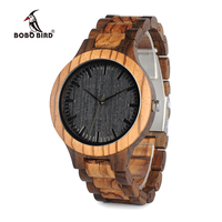 Round Vintage Zebra Wood Case Men Watch With Ebony Bamboo Wood Face With Zebra Bamboo Wood