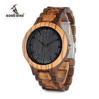 Round Vintage Zebra Wood Case Men Watch With Ebony Bamboo Wood Face With Zebra Bamboo Wood