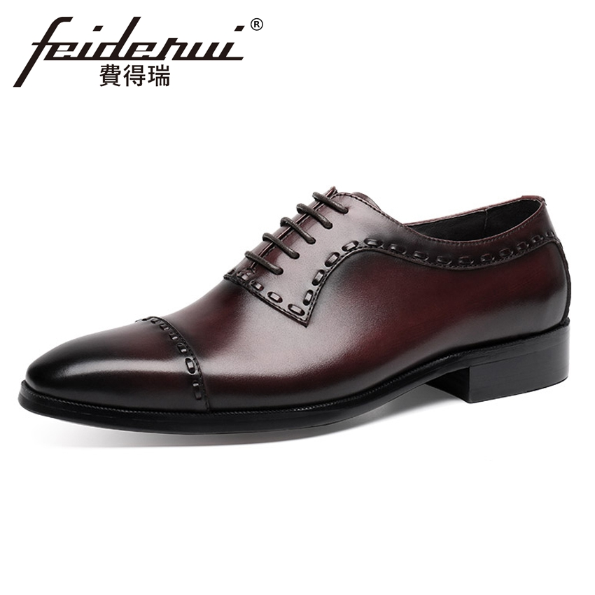 Top Quality Vintage Genuine Cow Leather Men's Handmade Oxfords Luxury Pointed Toe Man Formal Dress Wedding Brogue Shoes YMX395 2017 new genuine leather mens oxfords business dress wedding shoes lace up british style top quality cow leather brogue oxfords