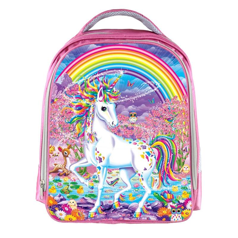 Fantasy Animal Colorful Unicorn Backpack Angel Cat Girls Book Bag