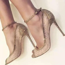 Charming Golden Glittering Crystal Stiletto Heels Pumps Fancy Mesh Lace Peep Toe Shoes Concise Women Line Buckle Style Shoes chic silvery pu t strap buckle style heels glittering crystal decorated pointy stiletto heel pumps gorgeous wedding glass shoes