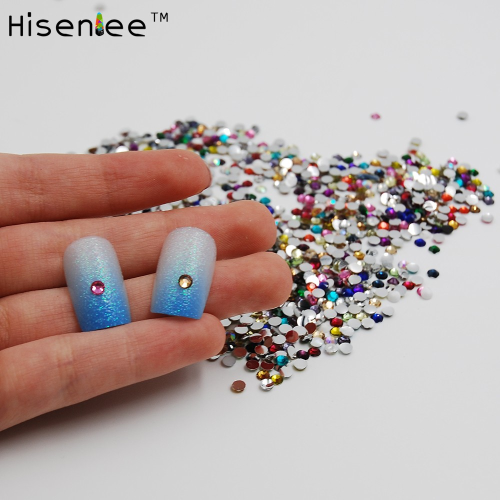 2mm 1000pcs mixed color round acrylic glitter nail rhinestone nail 5 1 prinsesfo Gallery