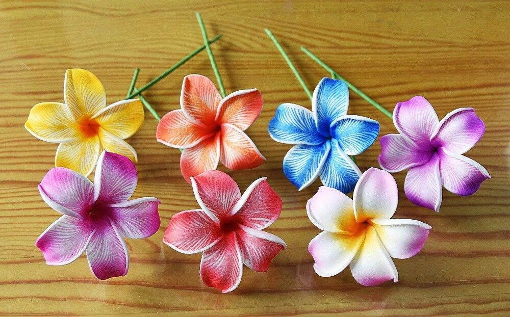 Free Shipping F0015 144pcs/ Lot 6CM 8 Colors Foam Plumeria Hair Pick  Women Wear Hair Accessories Hawaii Tropical Flower