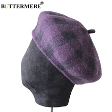 BUTTERMERE Wool Beret Women Purple Hats Tweed Painters Cap Ladies Checkered Knitted Vintage Autumn Winter French Artist Hat Red red house painters red house painters red house painters