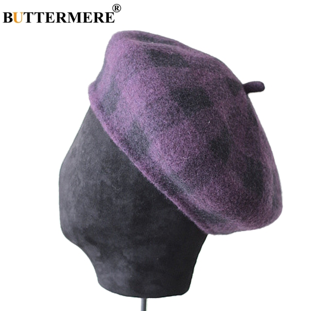 92b3ede3012d9 BUTTERMERE Wool Beret Women Purple Hats Tweed Painters Cap Ladies Checkered  Knitted Vintage Autumn Winter French Artist Hat Red