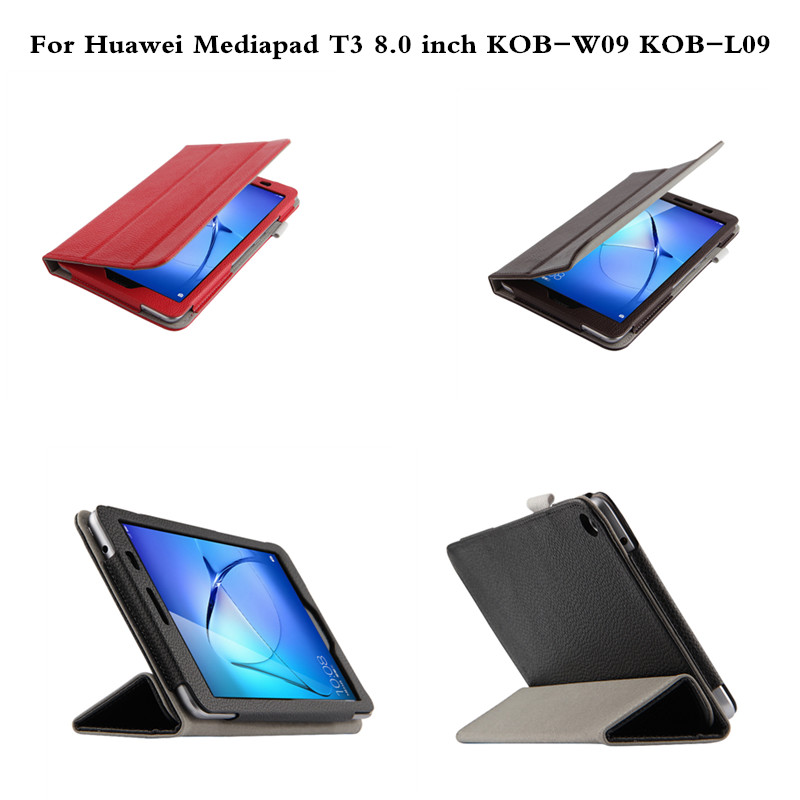 Flip Genuine leather Stand Book Cover Case Tablet Protective Cases For Huawei Mediapad T3 8.0 inch KOB-W09  KOB-L09 Tablet mediapad m3 lite 8 0 skin ultra slim cartoon stand pu leather case cover for huawei mediapad m3 lite 8 0 cpn w09 cpn al00 8