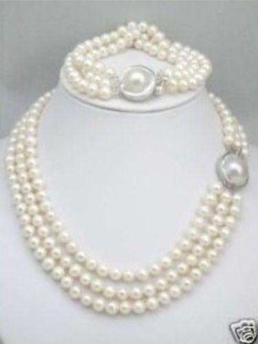 10X10 bijoux livraison gratuite triple brins mer du sud collier de perles blanches Bracelet ensemble fermoir Mabe