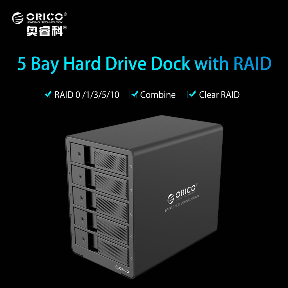 ORICO Aluminum 3.5 Inch 5bay HDD Docking Station USB3.0 to SATA With RAID Function HDD 5bay Enclosure 5 Bay HDD Case - Black корпус для hdd orico 5 3 5 ii iii hdd hd 20 usb3 0 5 3559susj3