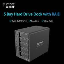 ORICO Алюминий 3.5 дюймов 5bay док-станция для HDD USB3.0 SATA с RAID Функция HDD 5bay корпус 5 Bay HDD Чехол-черный