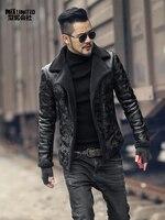 Black men winter warm camouflage fur lamb woolen casual jacket men fur collar plush faux leather jacket coat European style 2018