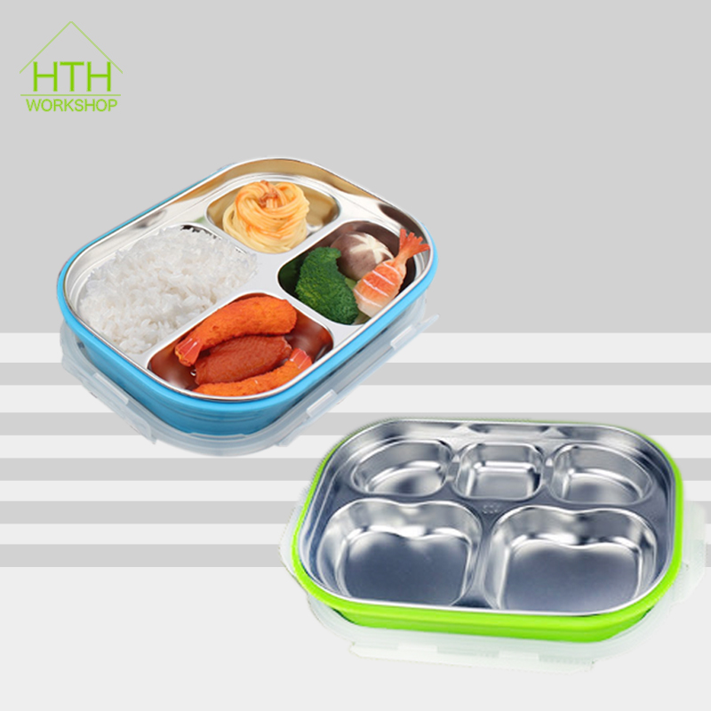 304 Stainless Steel Square Bento Lunch Box Leak Proof Tiffin Outdoor School Office with 5 Compartment Kids Picnic Food Container