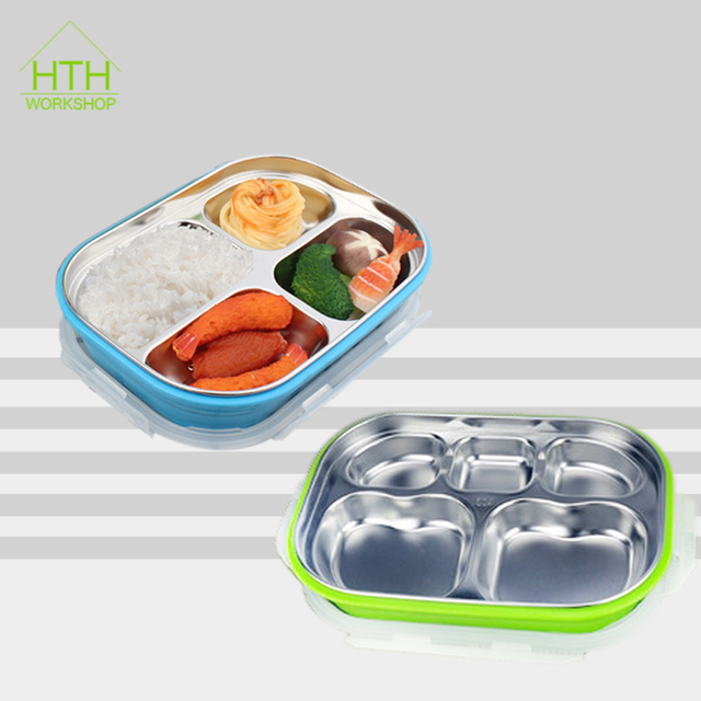 d73be55ac2ee US $19.9 |304 Stainless Steel Square Bento Lunch Box Leak Proof Tiffin  Outdoor School Office with 5 Compartment Kids Picnic Food Container-in  Lunch ...