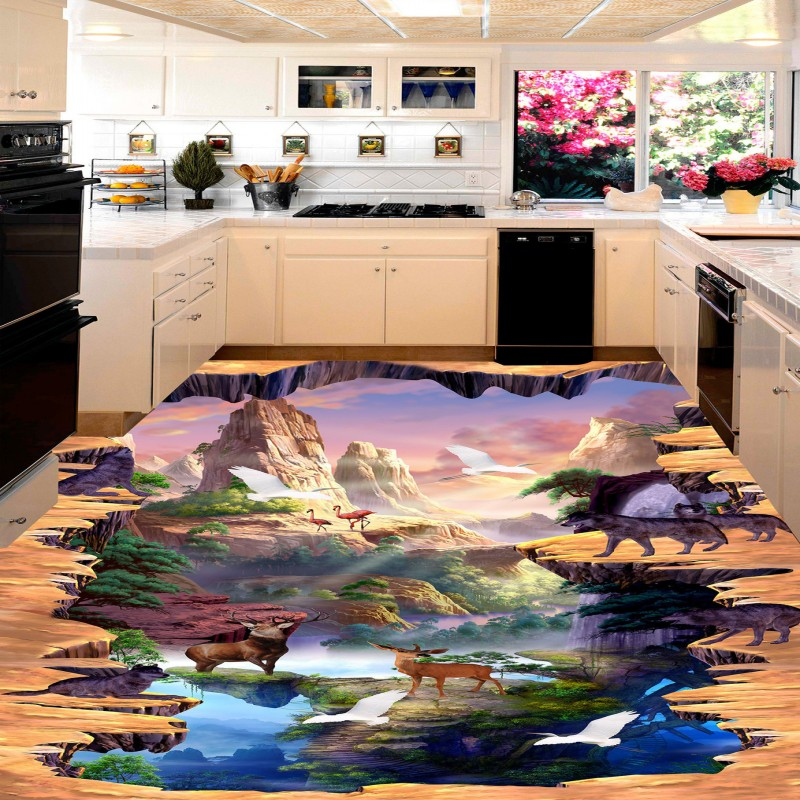 Free shipping Wolves Animated Scene 3D custom flooring thickened waterproof living room children room floor wallpaper mural free shipping custom floor mural thickening waterproof living room children room wallpaper marble texture parquet 3d floor