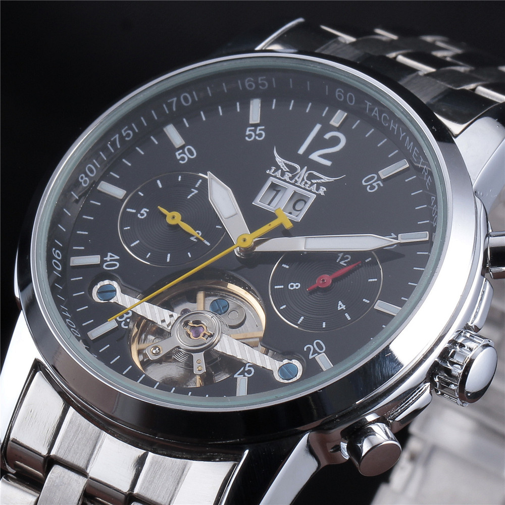 купить JARAGAR Men Watches Mens Luxury Brand Mechanical Watch Business Man Wristwatch Triple Sub-Dial Stainless Steel Analog Clasp по цене 2614.49 рублей
